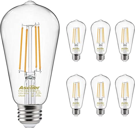 Pack of 4 ST58 Antique LED Filament Bulbs Ascher Vintage LED Edison Bulbs Non Dimmable E26 Medium Base Clear Glass Bright Warm White 2700K 6W Equivalent 60W