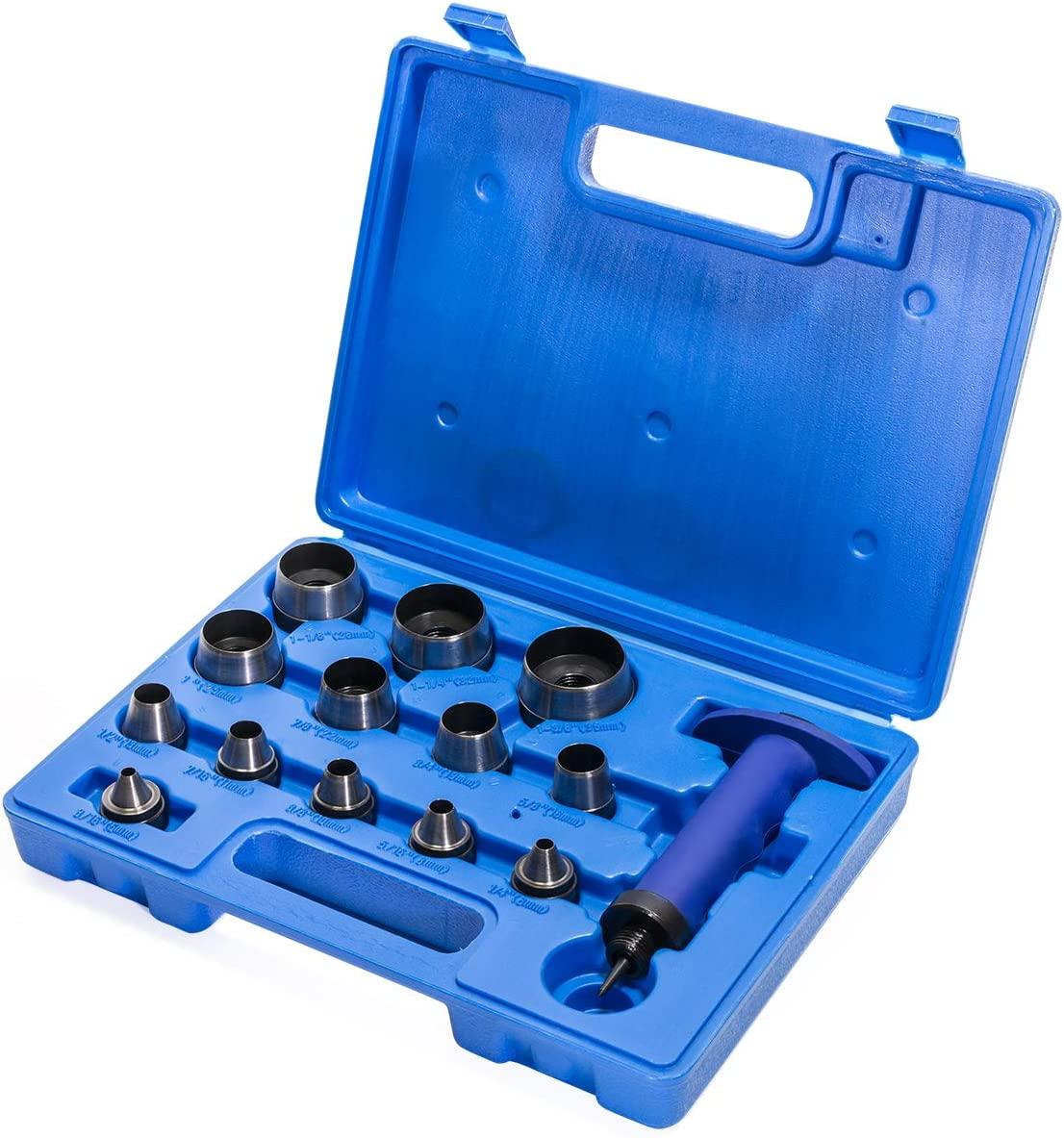 XtremepowerUS 15-Pieces Sharp Hollow Hole Punch Tool Kit Interchangeable 13 Sizes Pin Point Leather Copper Gasket Holes w//Case