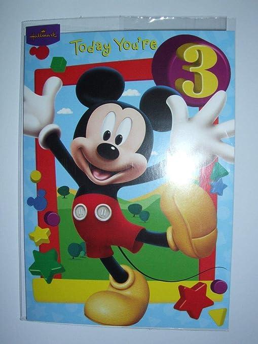 Amazon.com: Disney Mickey Mouse – Tarjeta de cumpleaños para ...