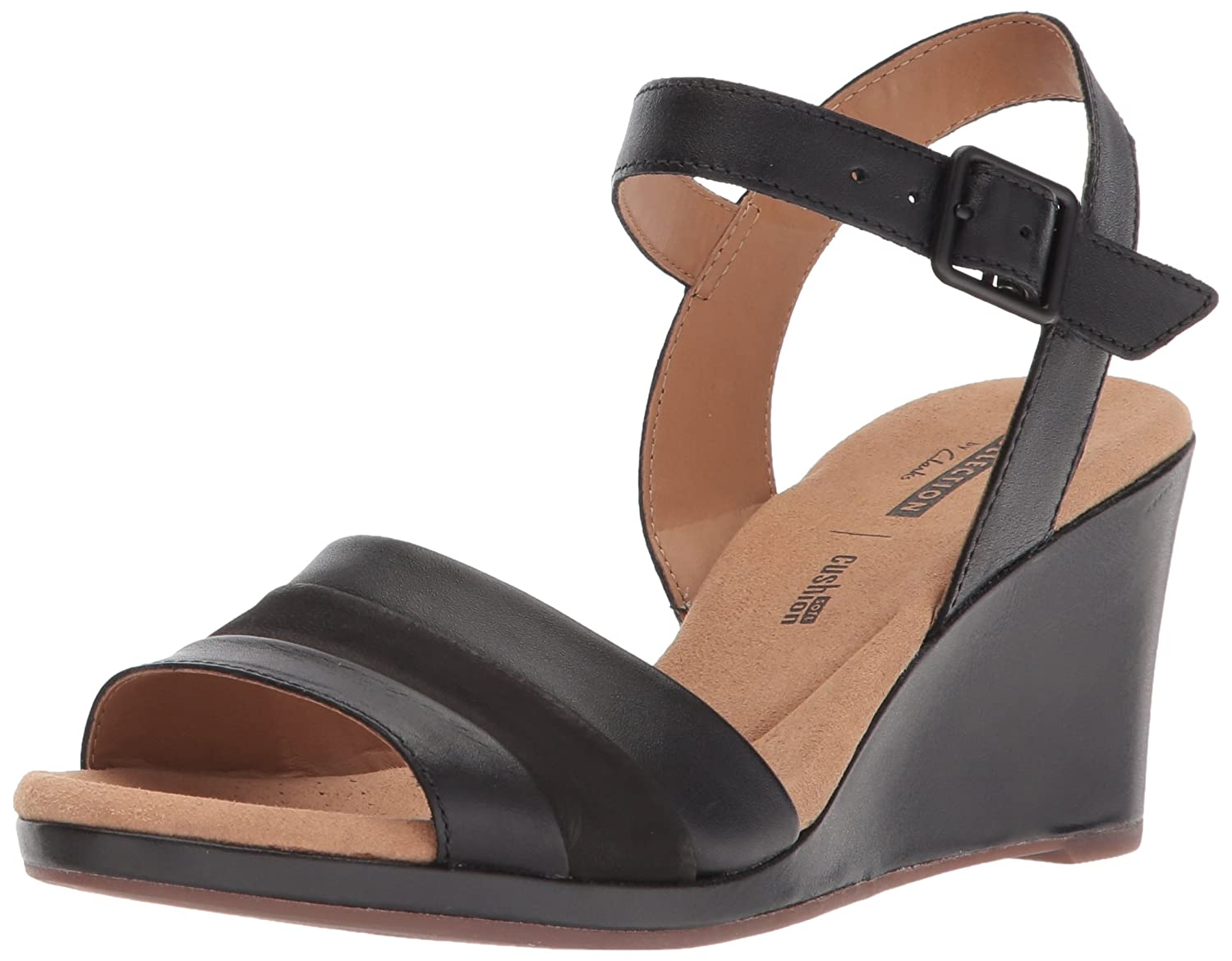 Black Leather Clarks Womens Lafley Aletha Sandals