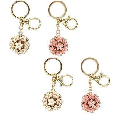 LONG TAO 4 Pcs Daisy Flower Ball Keychain Fashion Women Bag Pendant Sweet Trinket Souvenir (2 Pink & 2 White)