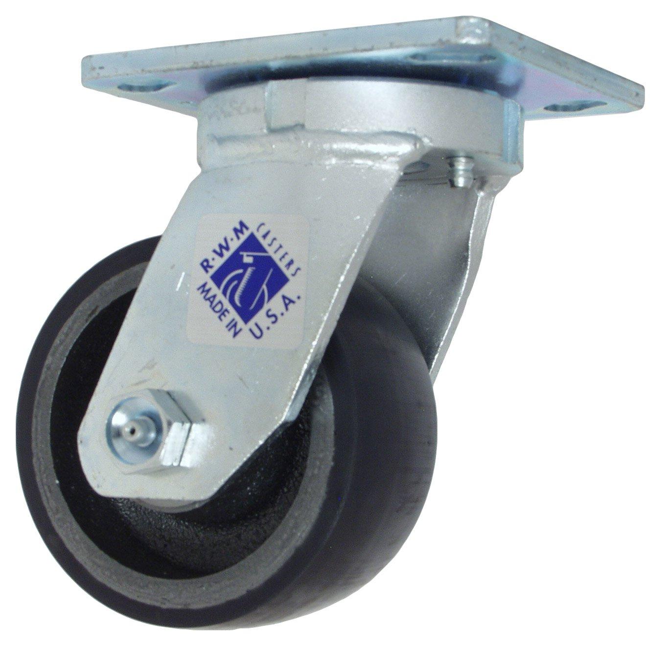 Roller Bearing Kingpinless 6-1//2 Mount Height 4-1//2 Plate Length Rigid 2 Wheel Width 5 Wheel Dia 1000 lbs Capacity RWM Casters 65 Series Plate Caster Cast Iron Wheel 4 Plate Width