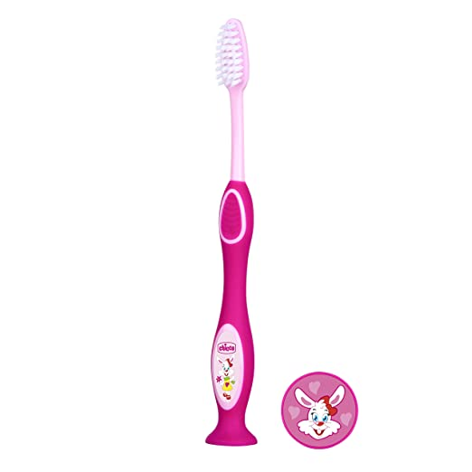 Chicco - Cepillo dental divertido con cerdas suaves para 6-36 meses, color rosa: Amazon.es: Bebé