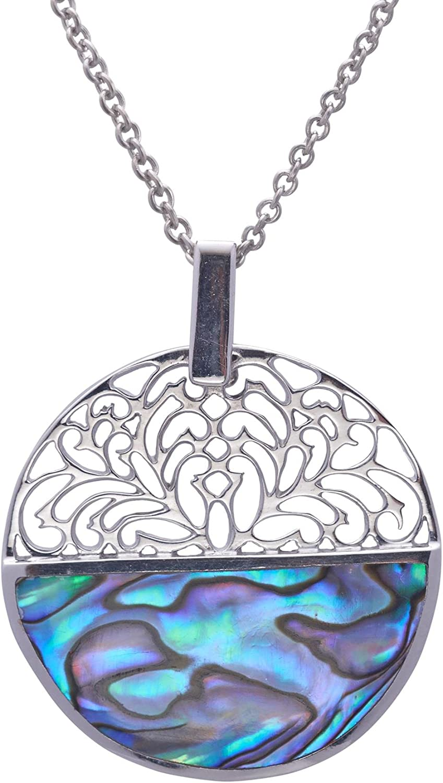 925 STERLING SILVER Paua Shell Abalone Beautiful Butterfly Pendant Women Teen