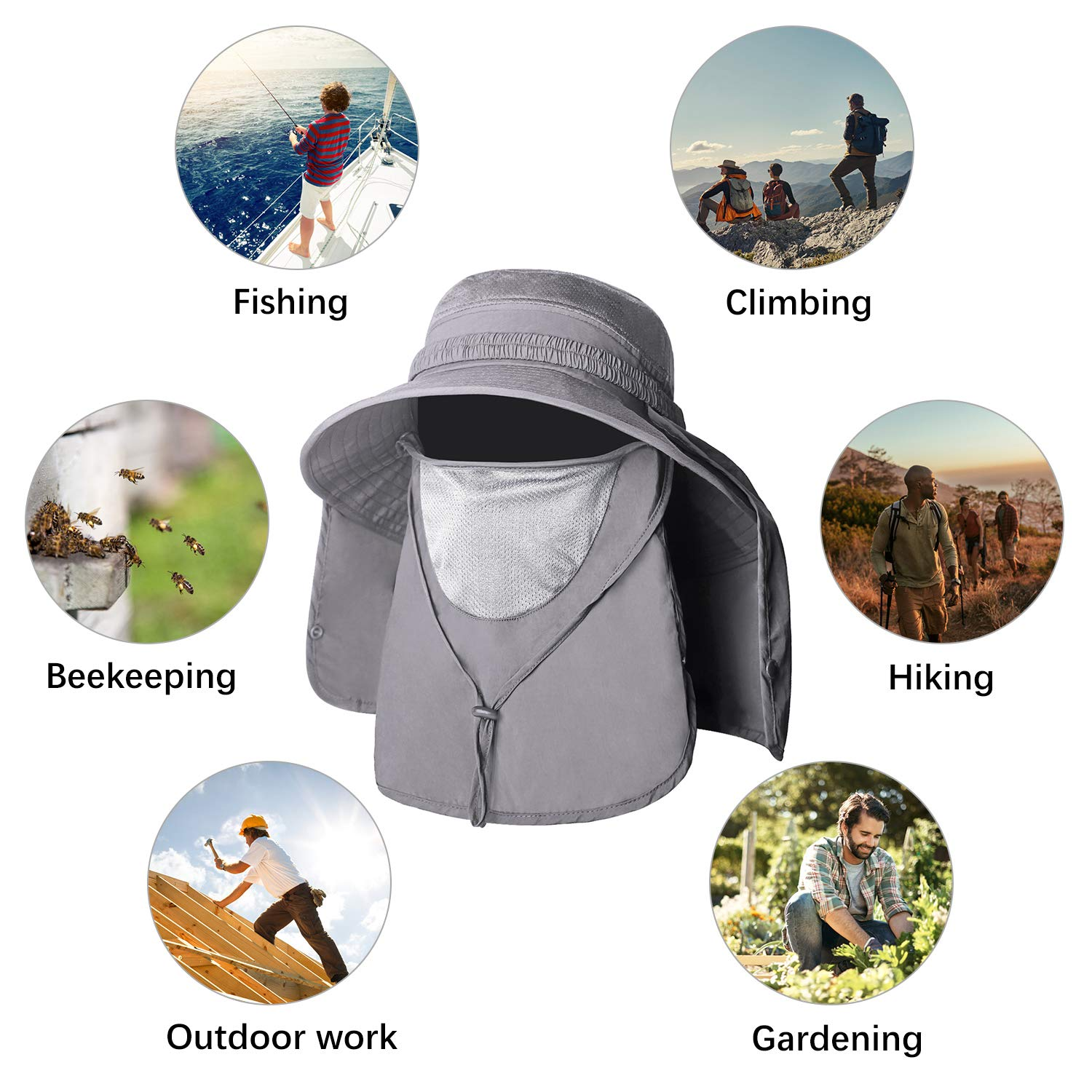 Unigear Sun Hat, UPF 50+ Sun Protection Wide Brim Bucket Hat with Removable  Mosquito Net and Neck Face Flap, Breathable and Packable for Safari,