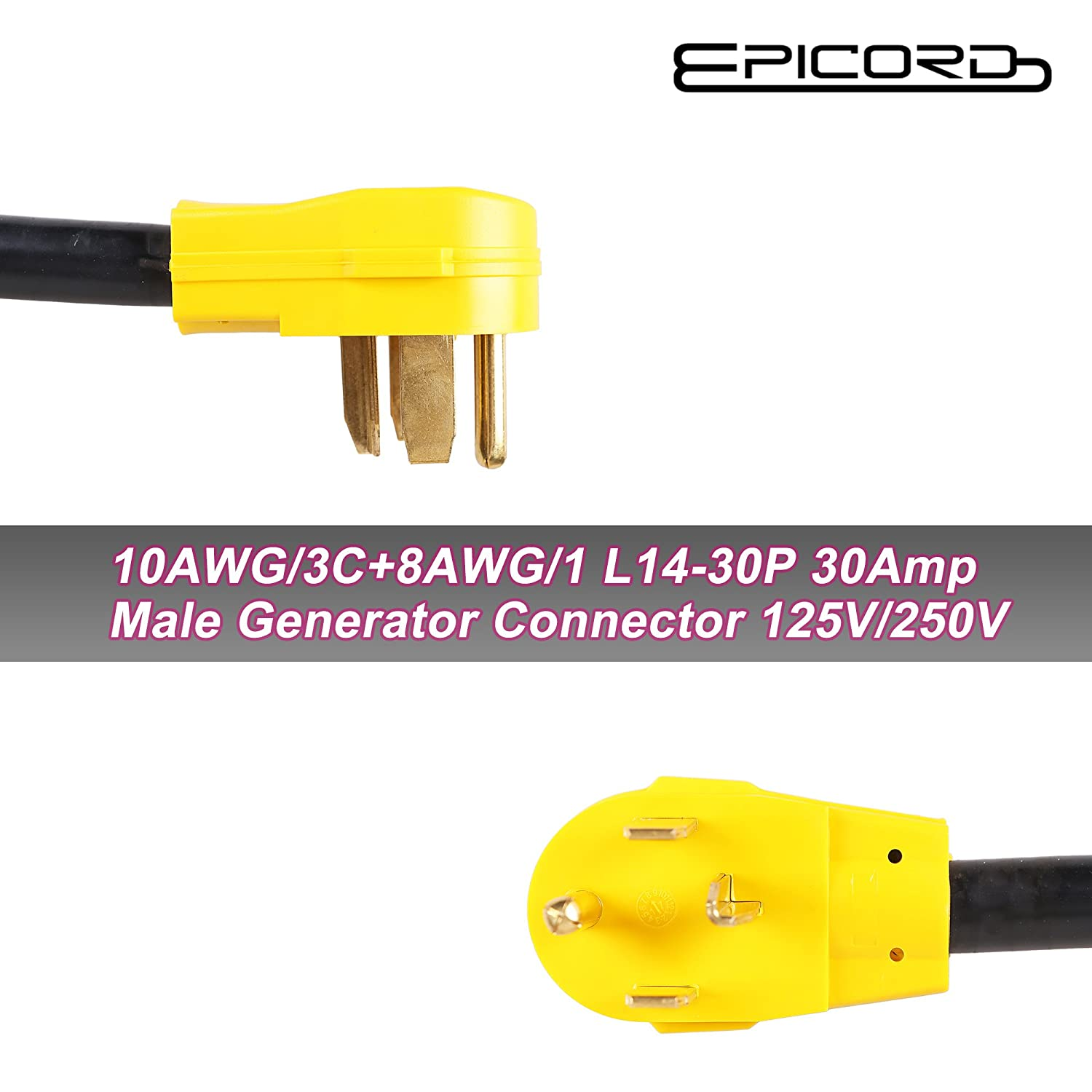 Epicord Dryer Cord Plug 4 Prong L14 30p Generator 30amp Wiring A L1430p Male To 2 Of 5 15r 15amp Female 125 250 Volt 25ft Home Improvement
