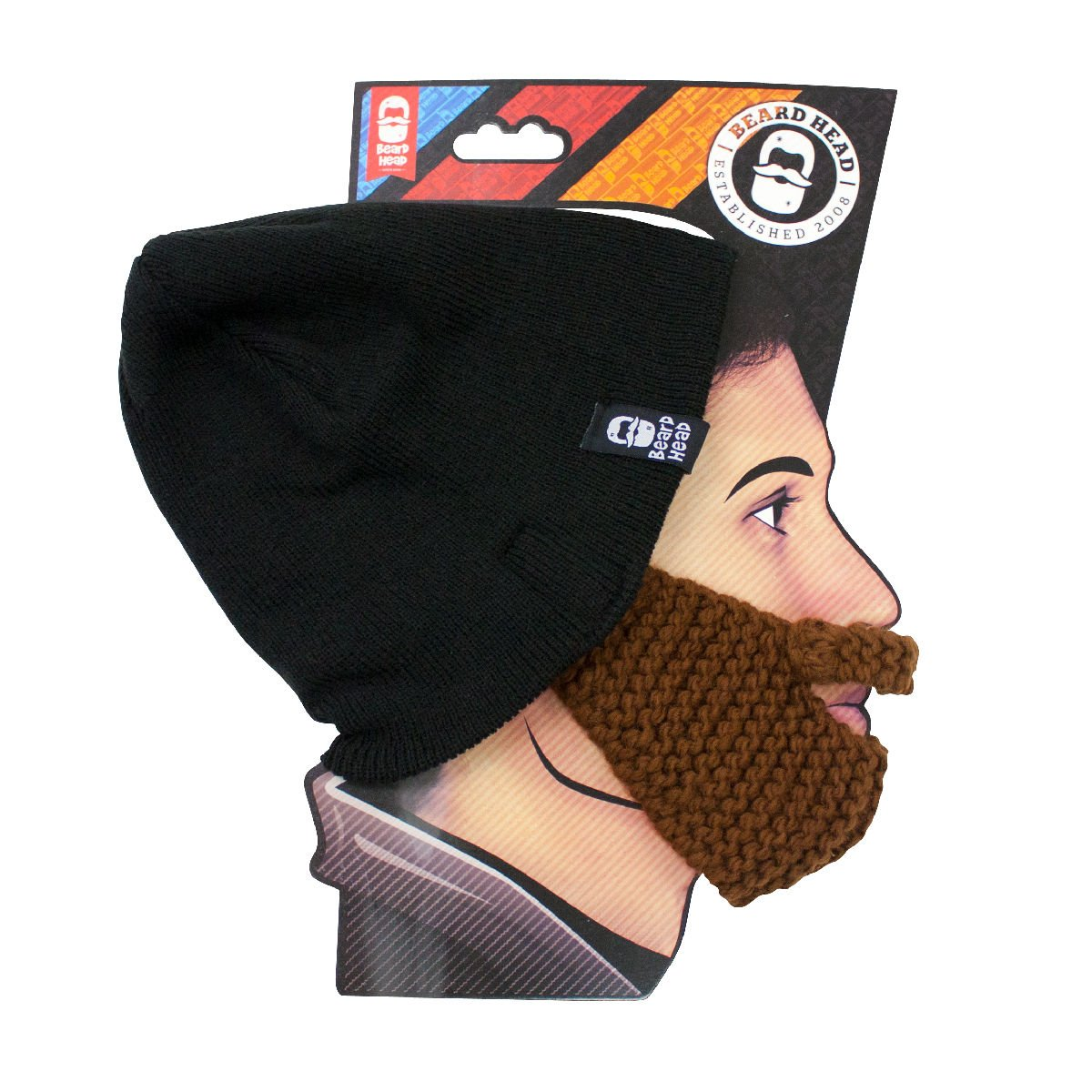 Funny Knit Hat and Fake Beard Facemask Brown BEARD HEAD Stubble Populous Beard Beanie