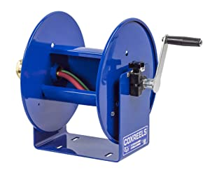 """Coxreels 112WL-1-100 Hand Crank Steel Welding Hose Reel, 100W Series – ¼"""" x 100', 200 PSI - Easy-to-Use Compact Design - Adjustable Tension Break - Heavy-Duty Steel Construction, Made in the USA, Blue"""