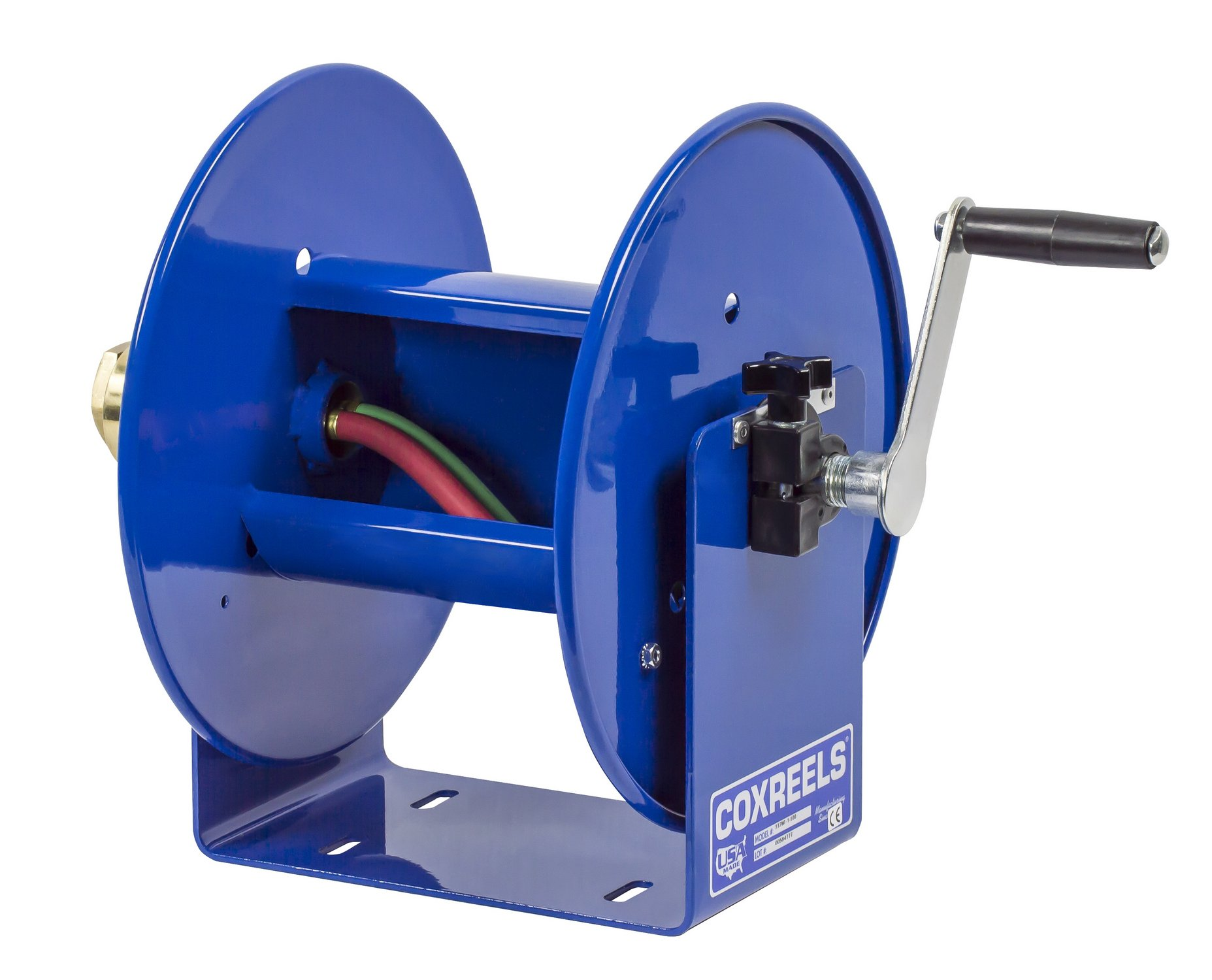 Coxreels 112WL-1-100 Welding Hand Crank Hose Reel: 1/4'' I.D., 100' twin oxy-acetylene welding hose capacity, less hose, 200 PSI