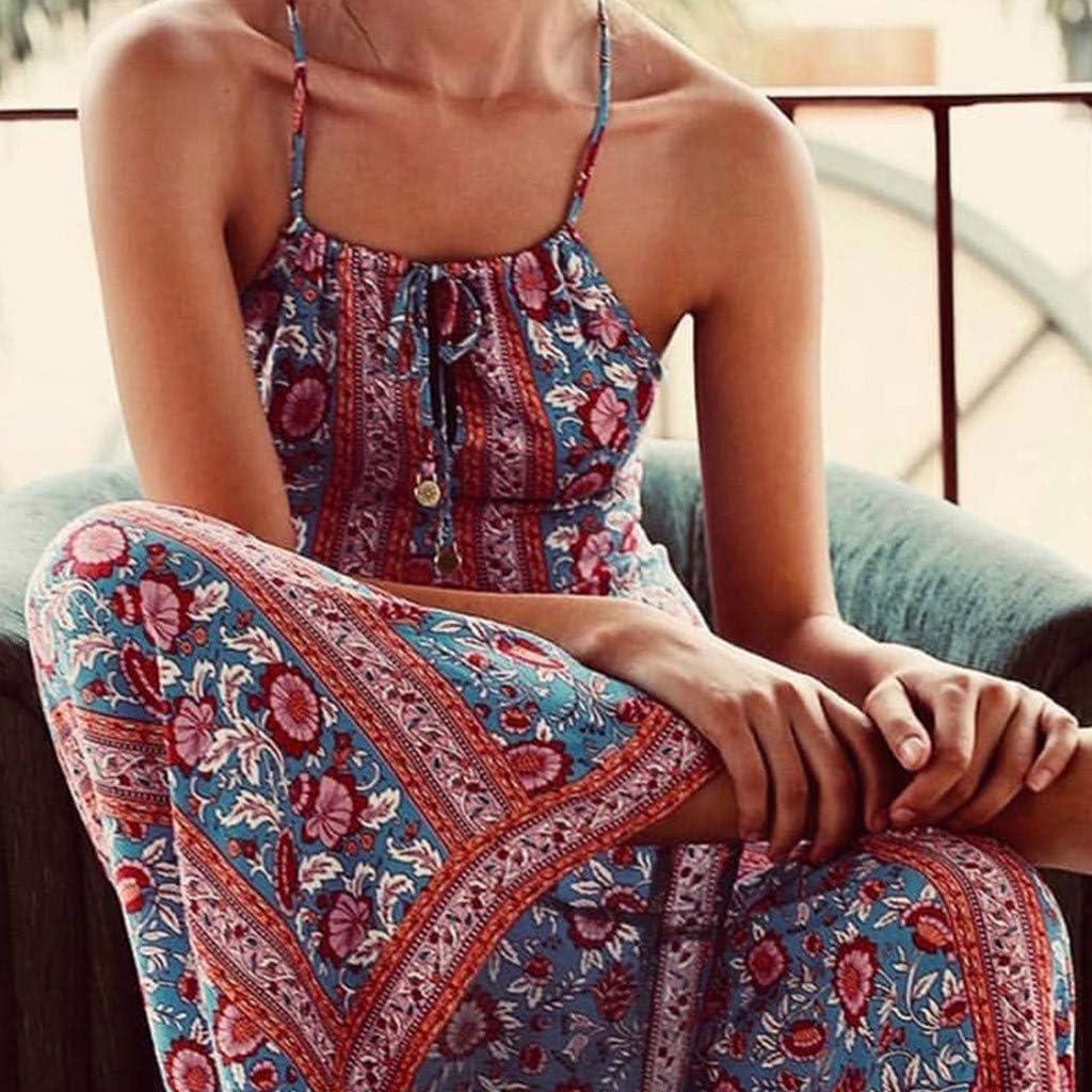 Highpot Womens Boho Floral Print Sleeveless Jumpsuit Summer Bohemian Casual Rompers