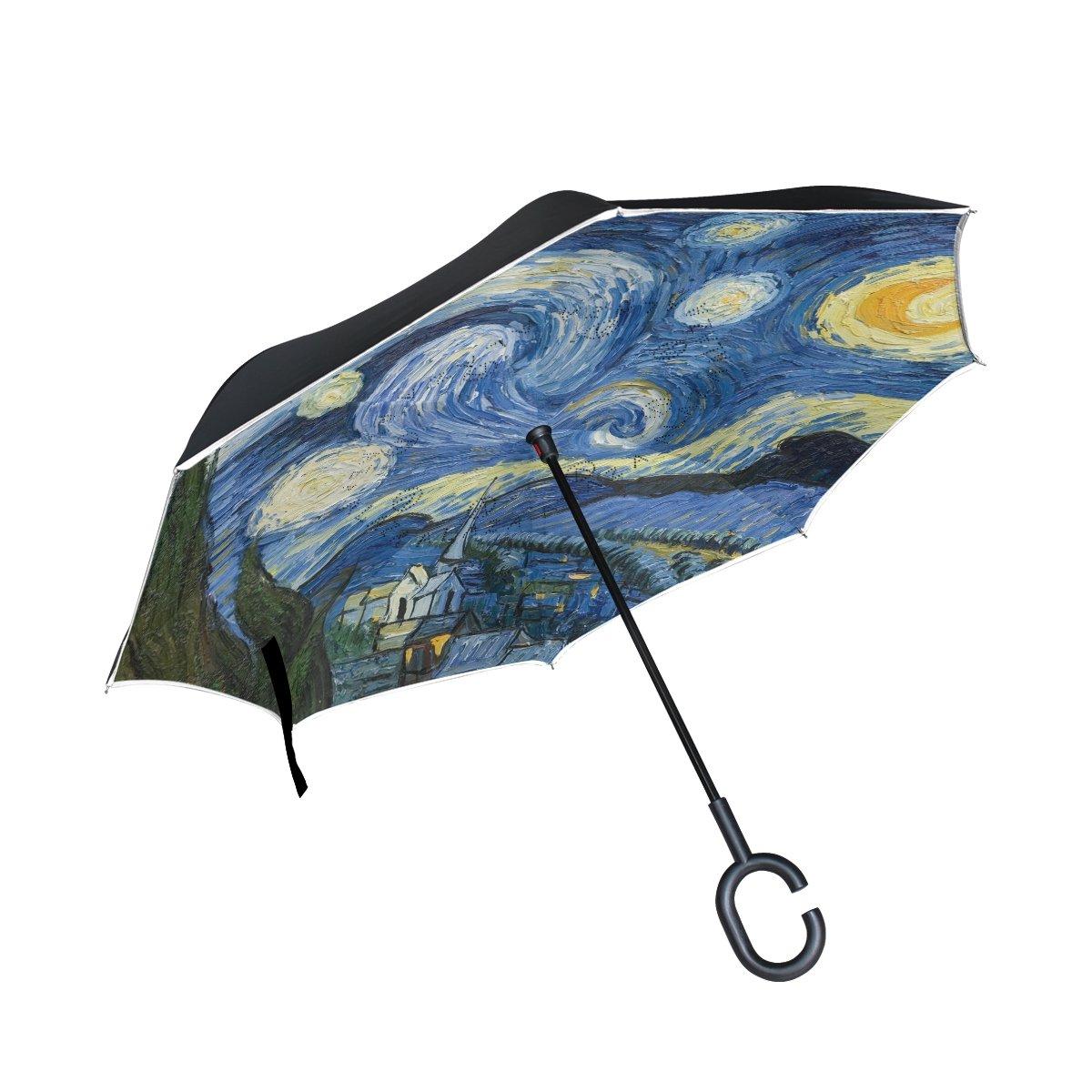 ALAZA Doppio strato invertito Umbrella Umbrella Auto Reverse Notte stellata della pittura a olio antivento UV Proof di corsa esterna Umbrella My Daily