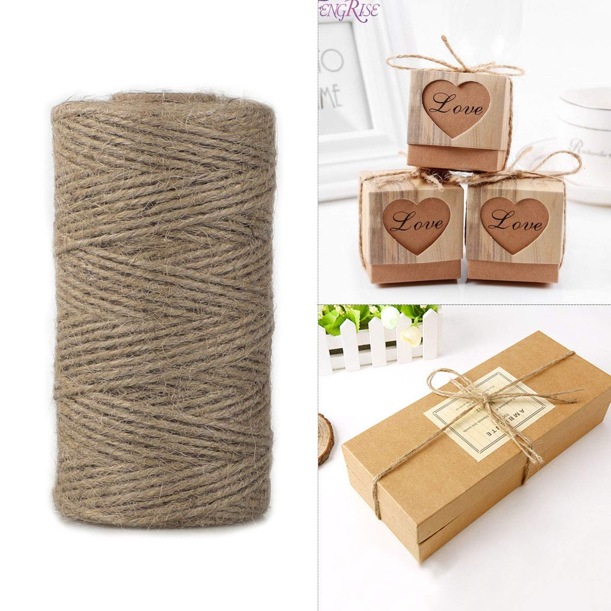 SanGlory Natural Jute Twine String,3Pcsx328 Feet Arts Crafts Gift Twine 3Ply Jute String Rope 2mm Heavy Duty Industrial Packing String for Christmas,Festive,Gardening Applications and DIY Decoration