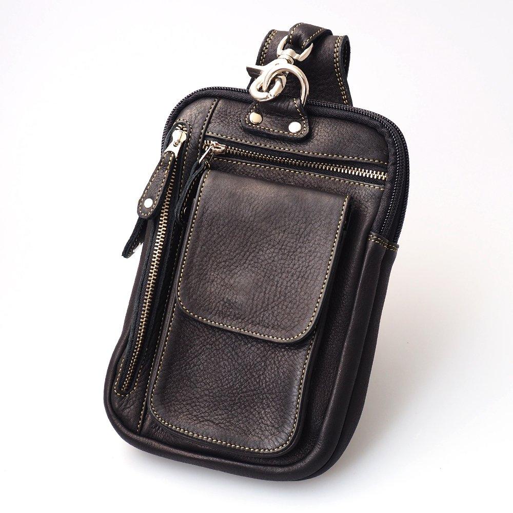 DaysArt(デイズアート)ベルトポーチ 牛革カーフスキン マルチポケット 長財布入れ フリップポケット レザーバッグ レザーヒップバッグ ウエストバッグ スマホケース iPhone6Plus対応 B01IJXENY8 ブラック ブラック