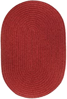 product image for Rhody Rug Woolux Wool Oval Braided Rug (5' x 8') - 5' x 8' Oval Red