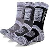 YUEDGE Men's Wicking Cushion Athletic Crew Socks Outdoor Multi Performance Hiking Socks(3 Pairs)