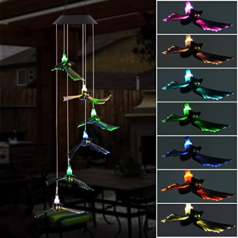 doingart solar wind chimes outdoor solar powered light bat led changing light color wind chime