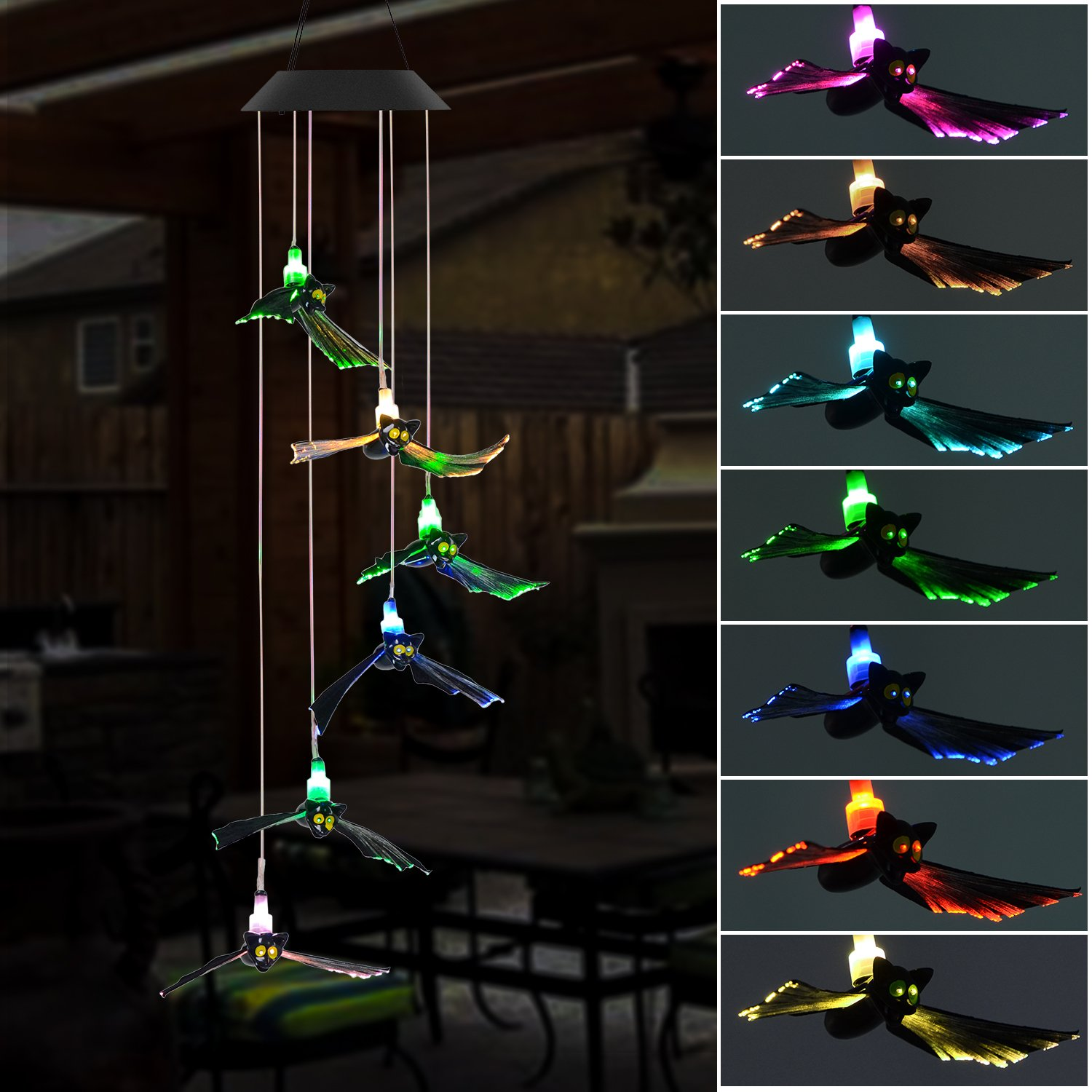 Doingart Solar Wind Chimes Outdoor - Solar Powered Light Bat LED Changing Light Color Wind Chime, Fiber Optic Bat Decorative Lights Halloween,Home,Party,Night Garden