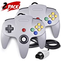 2 Pack N64 Controller, iNNEXT Classic Wired N64 64-bit Gamepad Joystick for Ultra 64 Video Game Console N64 System Mario Kart (Grey)