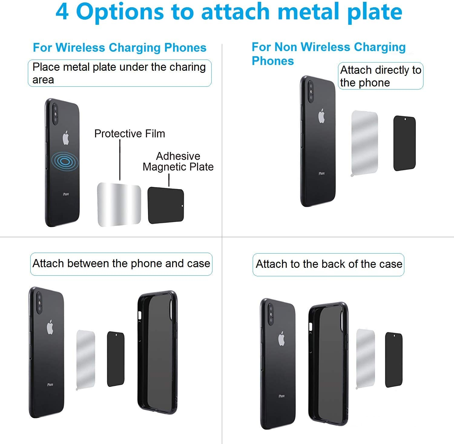 2 Rectangle /& 2 Round Black Metal Plate with 3M Adhesive Back for Magnetic Car Mount Cell Phone Holder GPS and Tablet Holder