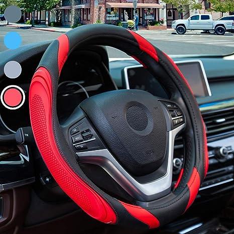 Nero con Grigio Coprivolante in Morbida Microfibra Universale 37-38 cm // 14.5-15 pollici Coprivolante Auto in Pelle Traspirante Antiscivolo