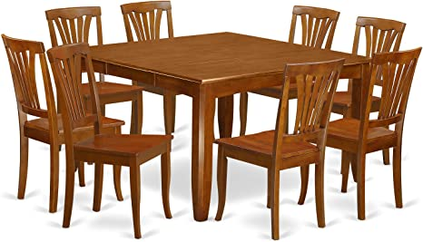 Amazon Com 9 Pc Dining Room Set For 8 Square Table With Leaf And 8 Dining Chairs Table Chair Sets
