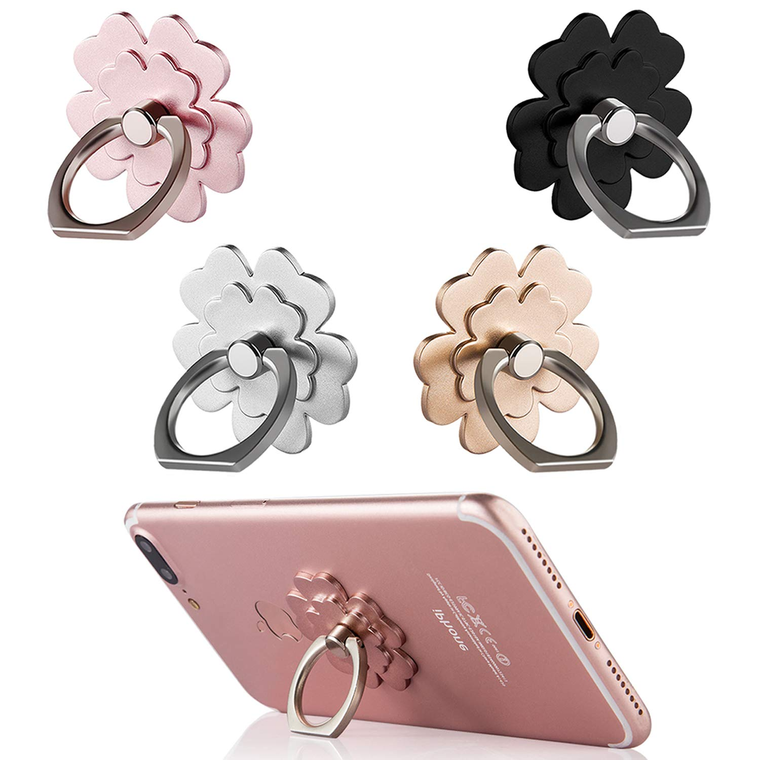 Phone Ring Stand [4 Pack] - Mengfly Universal Phone Finger Ring Grip Stand Holder Compatible with iPhone Xs Max XR X 8 7 6 6s Plus, Samsung Galaxy S9 S8 Plus S7 S6 Other Smartphones