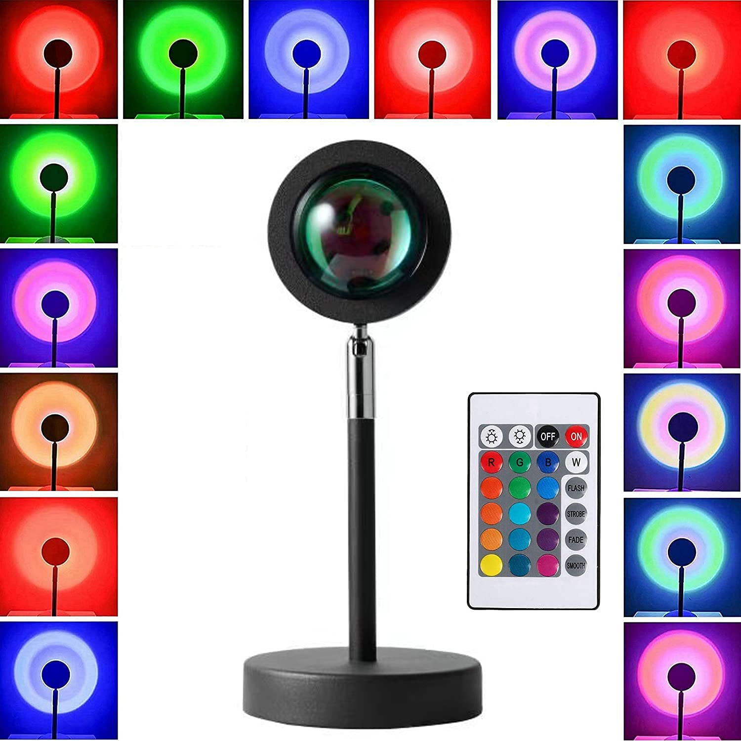 Projector Sunset Lamp, 16 in 1 Color Changing Light 180 Degree Rotation Projection Led Night Light for Photography, Selfie, Tiktok, Living Room, Bedroom and Home Decor, USB Charging
