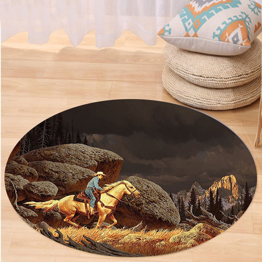 VROSELV Custom carpetWestern Decor A Rock Mountain Scene Landscape with a Cowboy Riding Horse North America Style Folk Print Bedroom Living Room Dorm Decor Gold Grey Round 72 inches