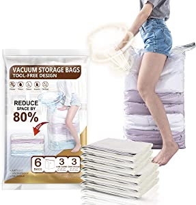 CLEVHOM Cube Space Saver Bags 6 Pack Extra Large Size Vacuum Storage Bags Compressed Closet Organizers for Comforters,Clothes, Bedding, Blanket, Pillow, No Need Vacuum Cleaner or Hand Pump