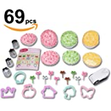 Cookie Cutter Vegetable Sandwich Bread Fruit shape cutter mold - Nori punch - Paper cup divider, Animal Food pick forks - 69pc Bento lunch box accessories set for kids and adults -