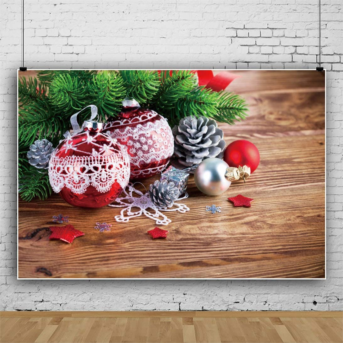 Haoyiyi 10x8ft Blue Christmas Background Red Balls Pine Tree Berry Wood Wooden Floor Wall Backdrop Photography Toddler New Year Baby Shower Winter Photo Booth Digital Video YouTube Pictures