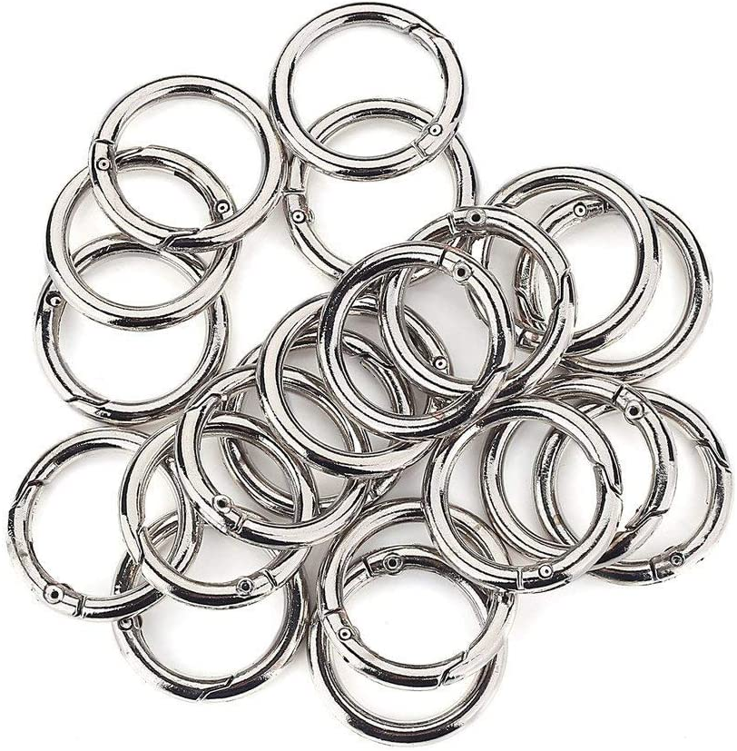20 Pcs Round Carabiner Gate O Spring Loaded Gate Clips Hook Key Ring Buckle (Silver)