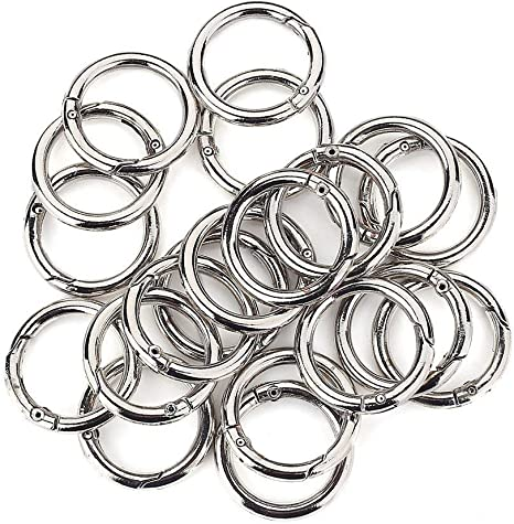 Onwon 20 Pieces Carabiners Rings Zinc Alloy Round Carabiner Loaded Gate Clips Spring Snap Hook Locking Carabiners Keychain Keyring Buckle