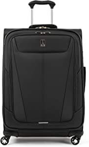 Travelpro Maxlite 5-Softside Expandable Spinner Wheel Luggage, Black, Checked-Medium 25-Inch