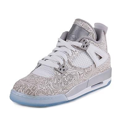 a41fce761390a0 Nike Mens Air Jordan 4 Retro Laser BG White Chrome-Metallic Silver Leather  Size