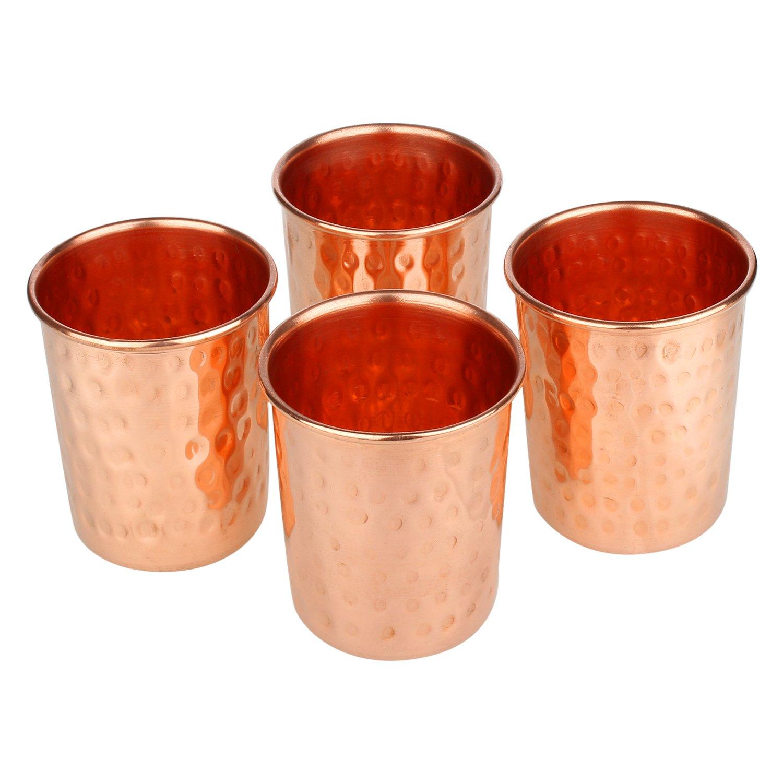 Zap Impex ®–Vasos de Cristal de Cobre amartillado 100% Cobre Puro zuhaltung ayurvedischen Heil Conjunto de 4 RLSDXYZ04371