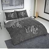 Nightlife - Bettwäsche / Bettbezüge Love Couple Grey - Grau - 200x200/220 - Mit 2 Kissenbezüge 60x70
