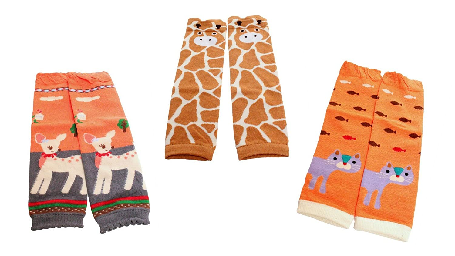 Colourful Baby World Little Girls' Leg Warmers Pack Of 3 Cream Giraffe Deer Cat
