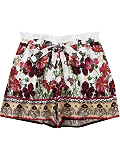Floerns Womens Plus Size Shorts Summer Casual Floral Elastic Waist Shorts
