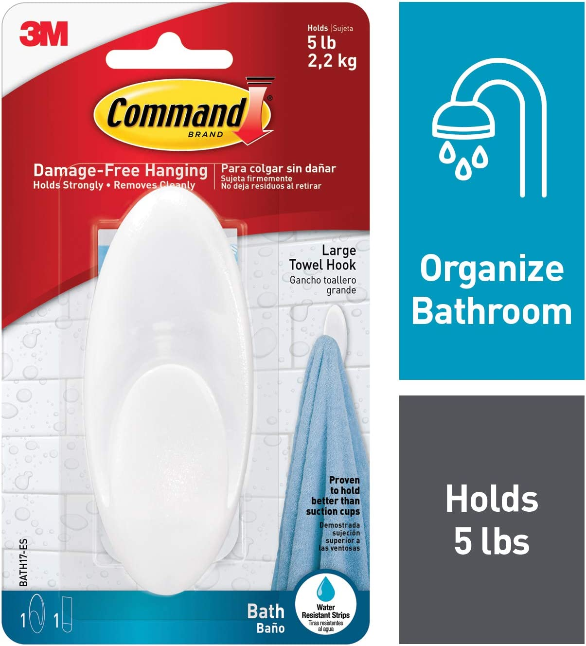 Command BATH17-ES-E 051141958392 Towel, Clear Frosted, 1-Hook, 1-Large Water-Resistant Strip (BATH17-ES), 1