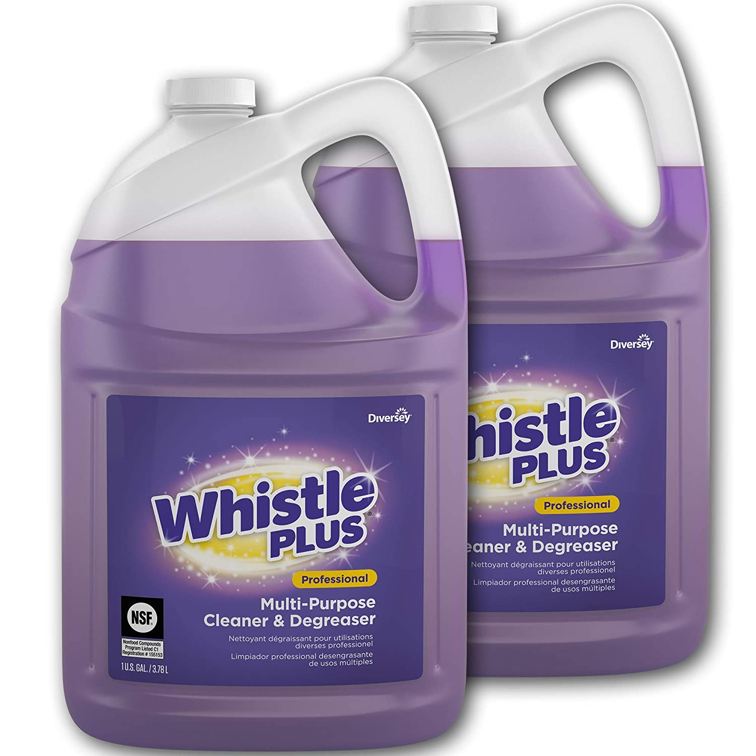 Diversey Whistle Plus Professional Multi Purpose Cleaner and Degreaser, 1 Gallon Bottle (2 Pack), (Model: CBD540588)
