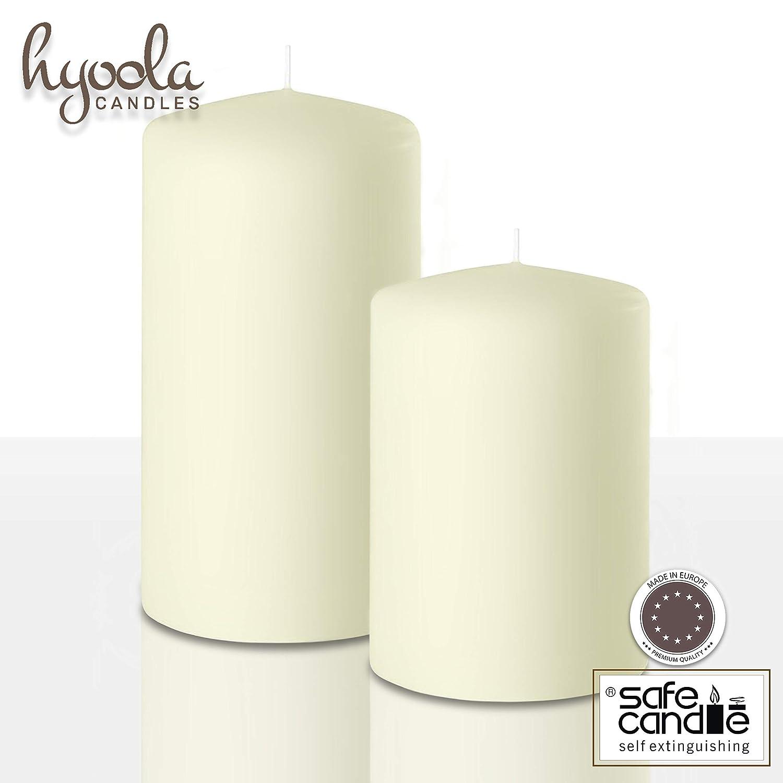 Hyoola Lot de 4 Bougies Pilier Ivoire 5,1 x 10,2 cm