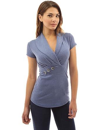 4e05f142052ab5 PattyBoutik Damen Schalkragen Wickel-Bluse mit kurzen Ärmeln (blau melierte  36/S)