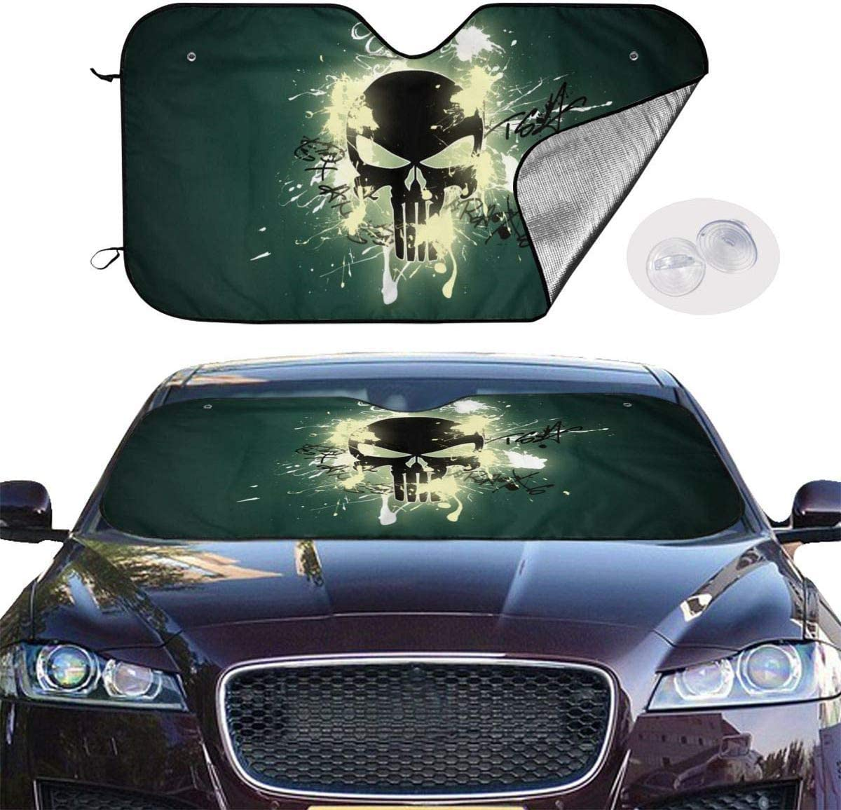Comfort/&products American Flag Punisher Skull Car Windshield Sun Shades Universal Fit 51.2 X 27.5,Car Truck SUV Vehicle Sunshade Front Windshield Fashion