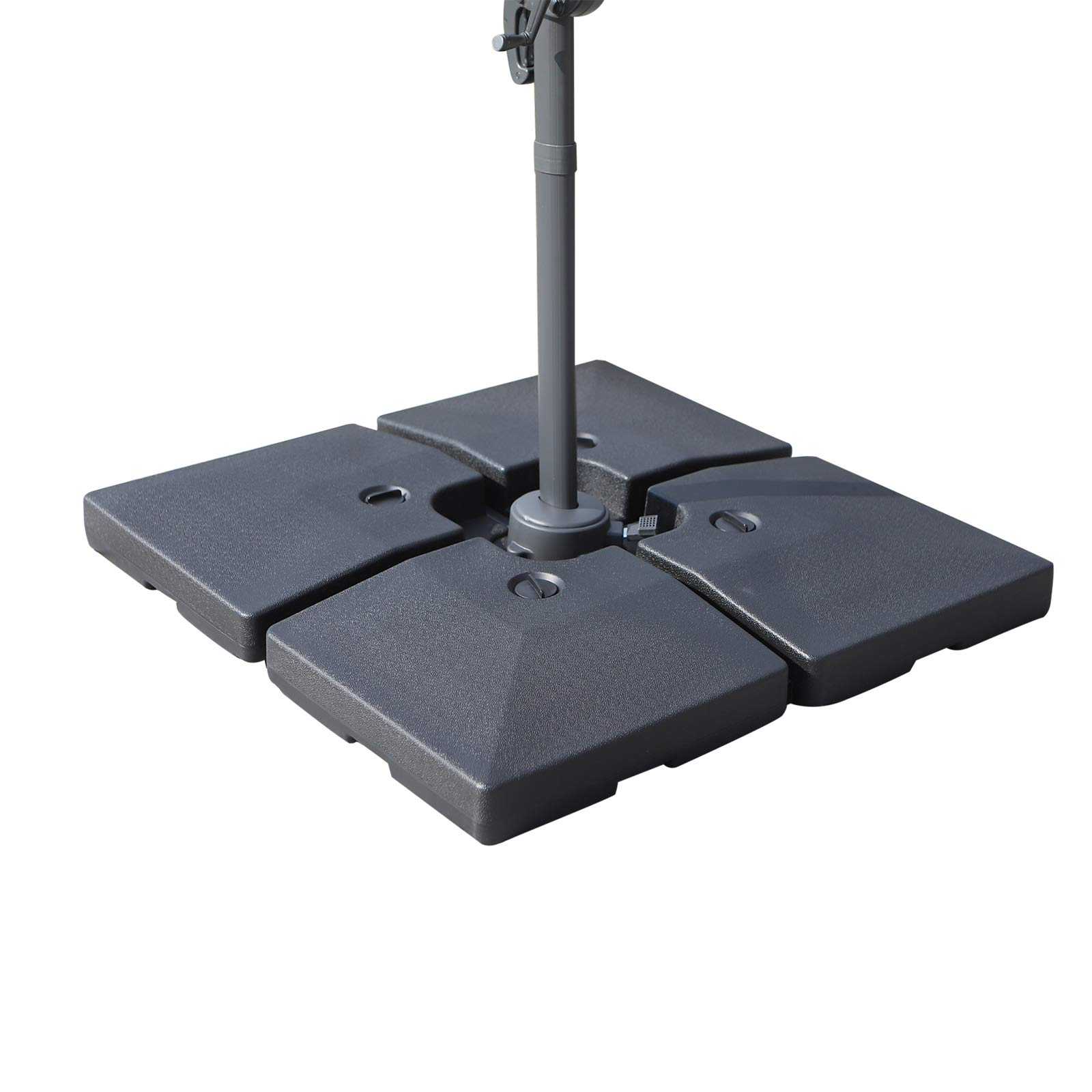 Outsunny Large 4 Piece Square Fillable Weighted Offset Market Patio Umbrella Base