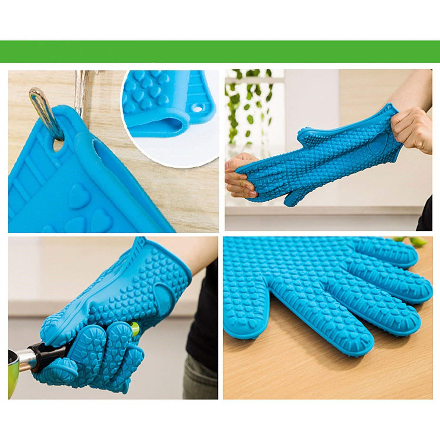 Silicone BBQ Gloves - Oceom Best Heat Resistant Non-slip Oven Mitts For Cooking, Baking, BBQ, Oven, Microwave, Frying, Freezer, Kitchen 1PC (Blue) by Oceom (Image #3)