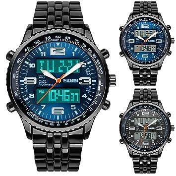Leyeet Men Luxury Military Sports Watch Reloj analógico Digital a Prueba de Agua (Color :