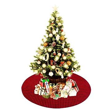 Amazon Com Rexso 48inch Christmas Tree Skirt Plaid Tree Skirts Red