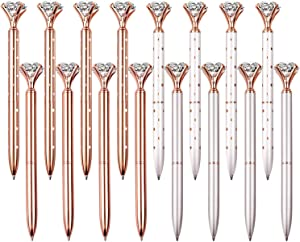 16 PCS Diamond Pen With Big Crystal Bling Metal Ballpoint Pen, Office Supplies And School, Rose Gold/White Rose Polka Dot/Silver/Rose Gold With White Polka Dots, Includes 16 Pen Refills