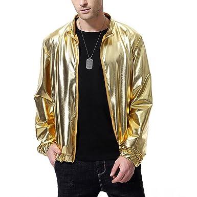 1b648e0cf AOWOFS Men's Metallic Bomber Varsity Jacket Gold Nightclub Styles Zip-up  Lightweight Fashion Jacket